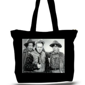3 Stooges Gun Control Grocery Tote Bag XXXL